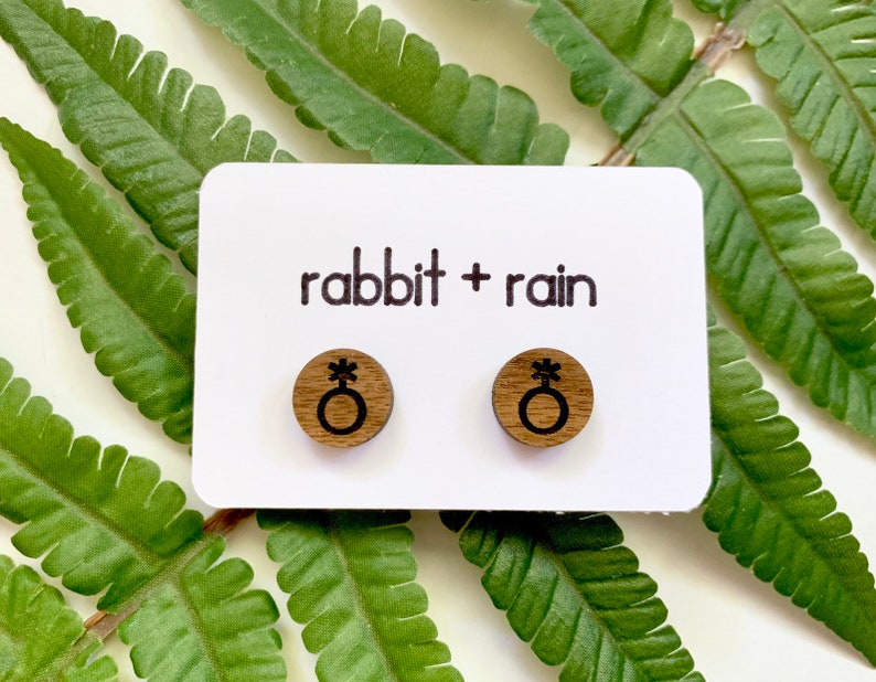LGBTQ Accessories Nonbinary Pride Studs Genderqueer Earrings Laser Cut and Engraved Walnut Wood Jewelry Small Non Binary Symbol Earrings