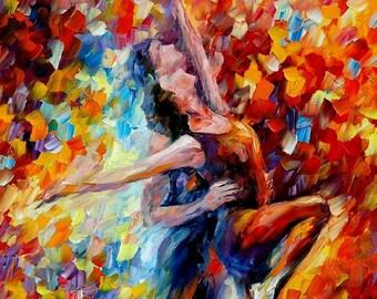 "Red Art Work Dance Oil Painting On Canvas By Leonid Afremov - Toward The Sun Light. Size: 24"" x 36"" (60cm x 90cm)"