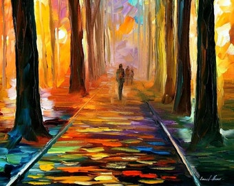 """Tall Painting Vertical Wall Art On Canvas By Leonid Afremov - Alley Of The Dream. Size: 20"""" X 36"""" Inches (50 cm x 90 cm)"""