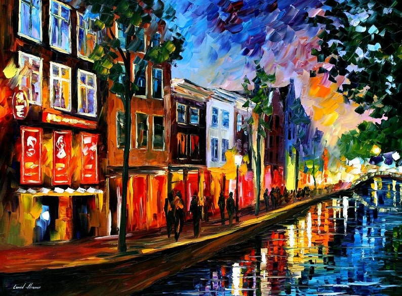 Amsterdam, Red Lights — Netherlands Wall Art Oil Painting On Canvas By  Leonid Afremov  Holland  Size: 40