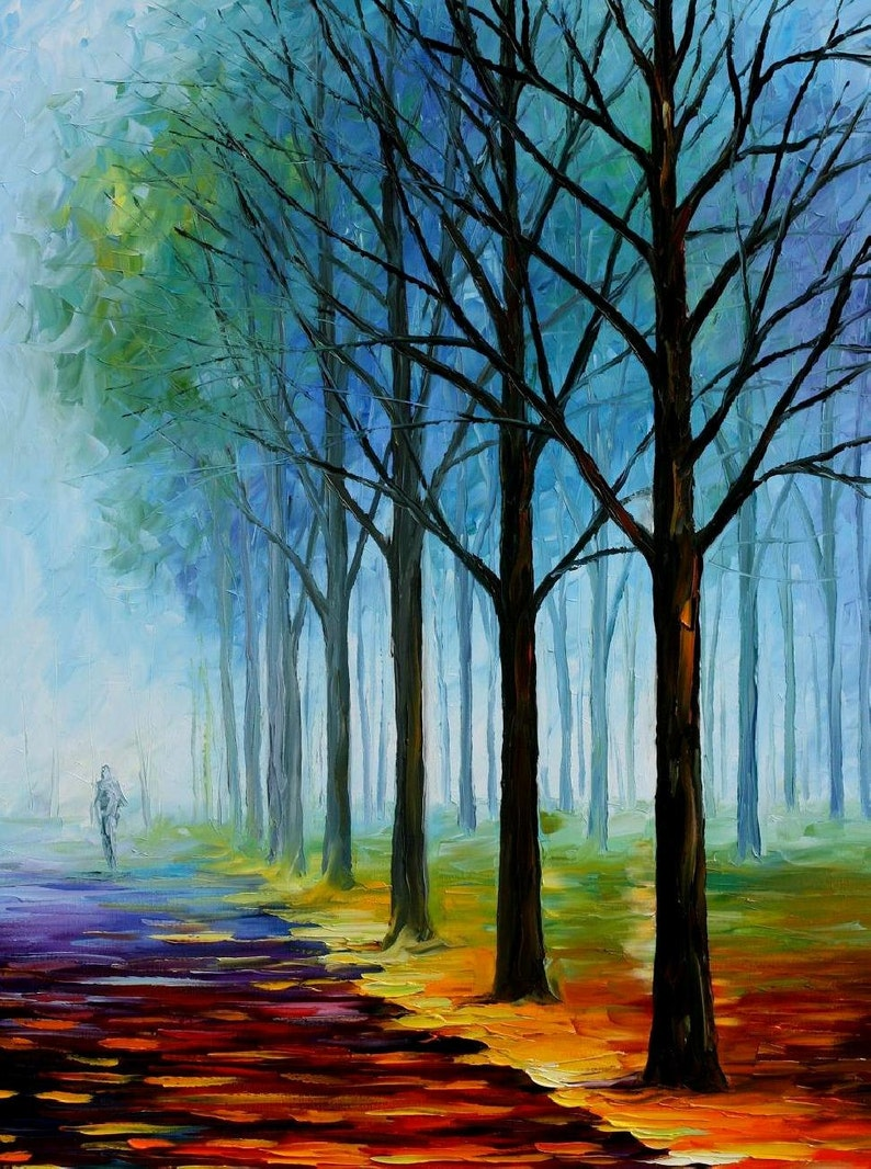 Contemporary Oil Paintings Scenery Wall Art On Canvas By Leonid Afremov Blue Fog 2