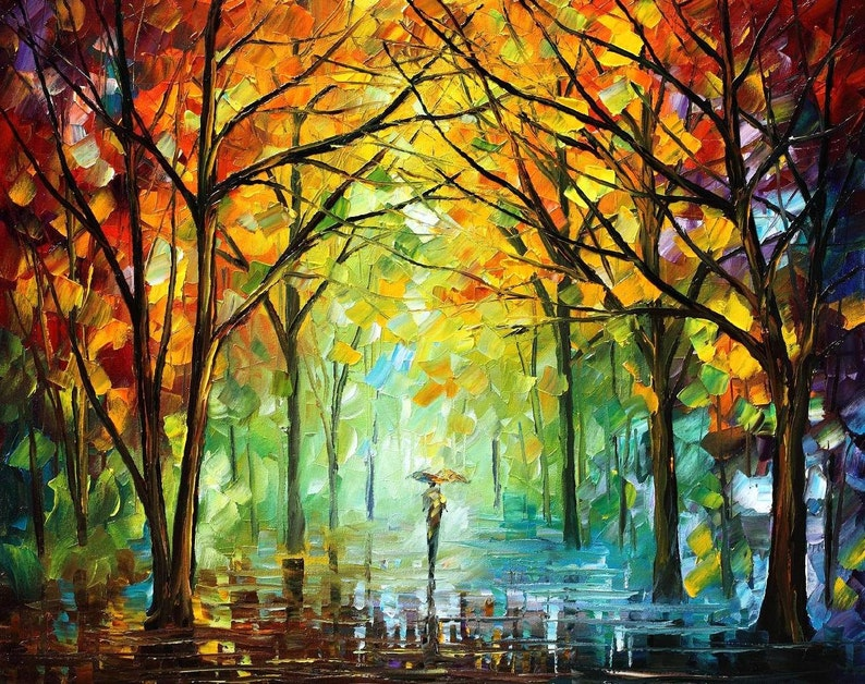 Famous Nature Paintings Scenery Wall Art On Canvas By Leonid Afremov October In The Forest