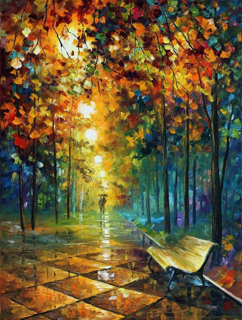 Famous Paintings Abstract Oil Art On Canvas By Leonid Afremov , Misty Park
