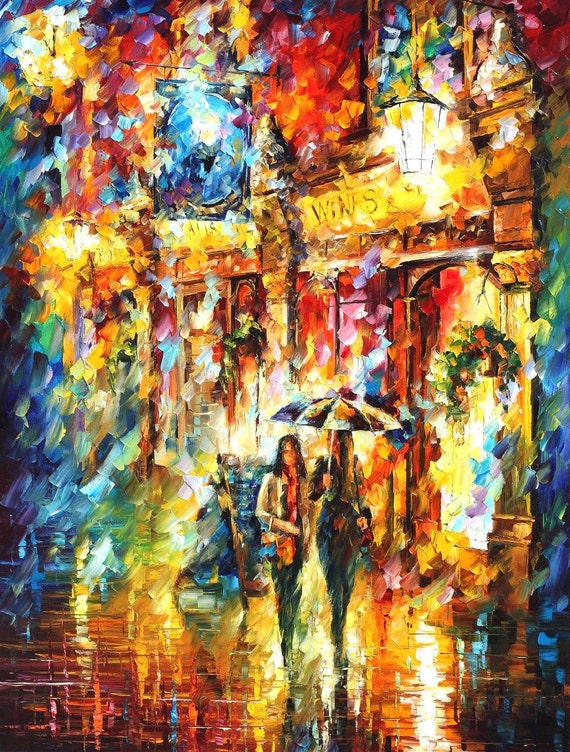 best friends in the city palette knife modern cityscape oil etsy