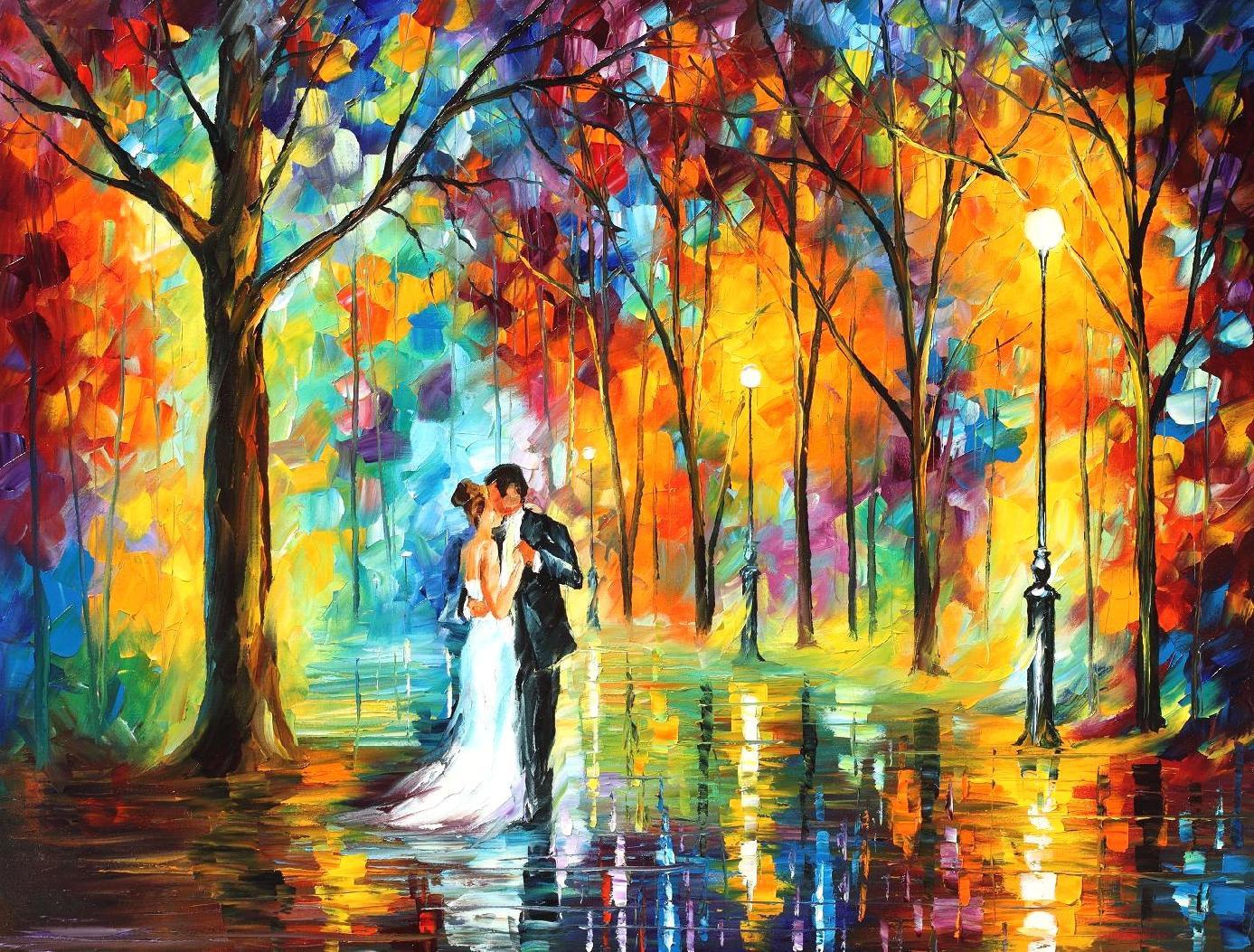 Wedding Anniversary Gift Rainy Wedding Oil Painting By Etsy