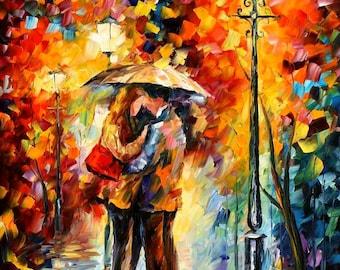 Romantic Decoration Kiss Art Oil Painting On Canvas By Leonid Afremov - Kiss Under The Rain 2