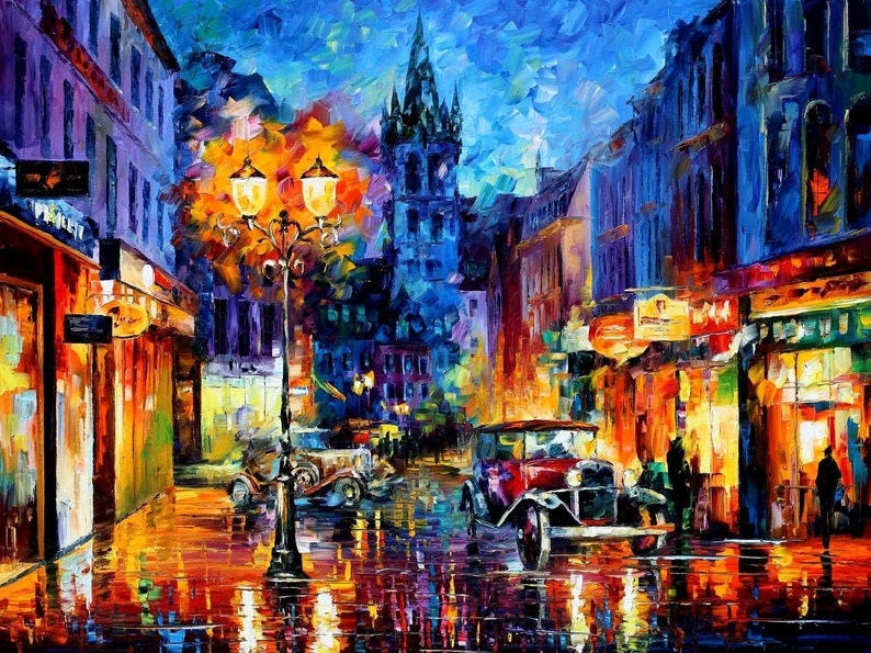 Large Bedroom Decor - Amsterdam 1905 — Palette Knife Holland Netherlands  Cityscape Oil Painting On Canvas By Leonid Afremov