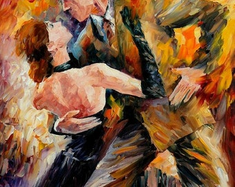 Paintings Of Couples Dancing Artwork On Canvas By Leonid Afremov - Classical Tango