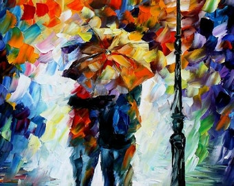 """Wall Paintings For Sale Best Wall Art On Canvas By Leonid Afremov - Bonded By The Rain. Size: 24"""" X 36"""" inches"""