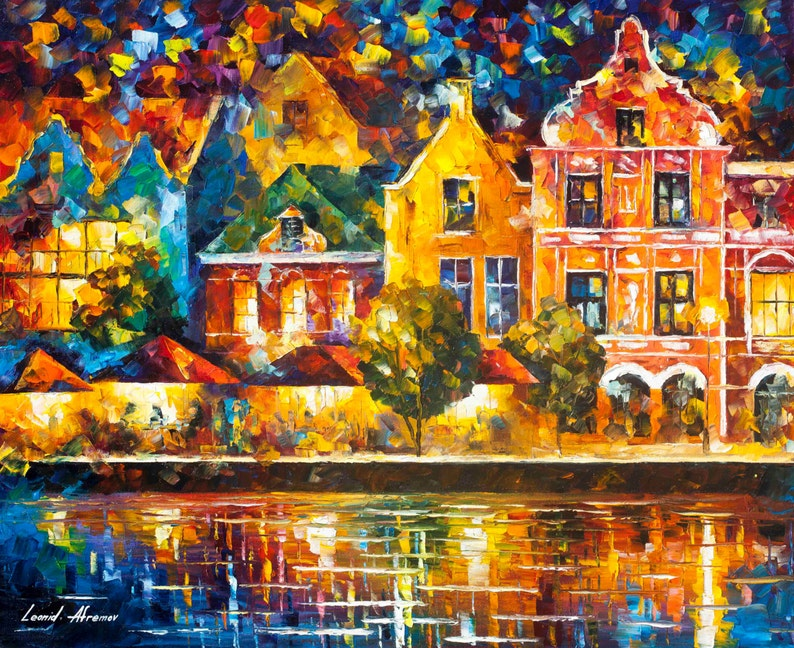 Amsterdam Of My Dreams — Palette Knife Netherlands Artwork Oil Painting On  Canvas By Leonid Afremov  Size: 30