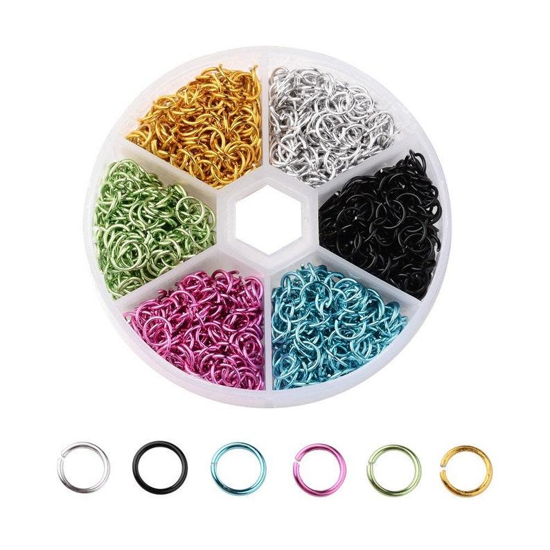 1080x Aluminum Open Jump Split Ring Unsoldered 6mm Diameter 6 colors Mixed
