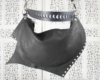 Mini black leather purse, italian soft quality leather, mini bag, mini shoulder bag, cross body bag, cross body purse, rock/dark/goth purse.