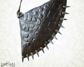 Unisex fanny pack, Makar with Spikes, mono-pouch pocket, little shoulder bag, genuine leather pouch, worn round the waist, goth, rock, punk.