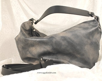 LIMITED EDITION. GrizasB shades of grey Leather bag. Shoulder bag. Purse. Crossbody leather bag. Super soft leather purse with strong handle