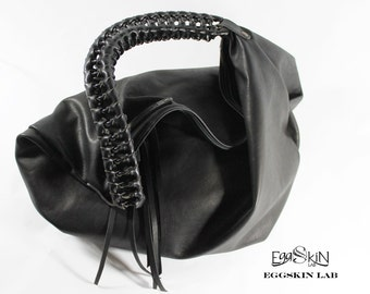 Roomy and soft leather bag, black italian leather bag, leather purse, collection purse, black leather purse, black purse, bag, purse.