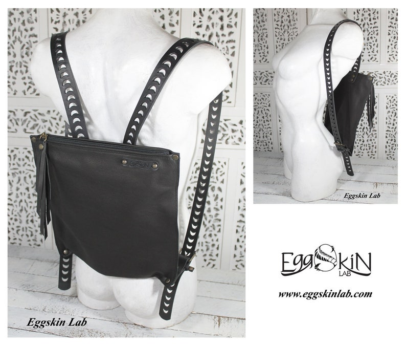 Black italian leather backpack soft leather with strong image 0
