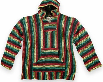 Cotton Poncho for Men and Women Mexican Baja Style Gheri Cape Black /& Red Mixed