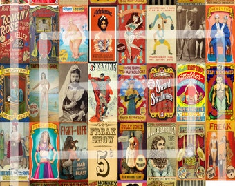 40 1x2 Vintage Circus Sideshow Freak Show Playbills Posters Ads