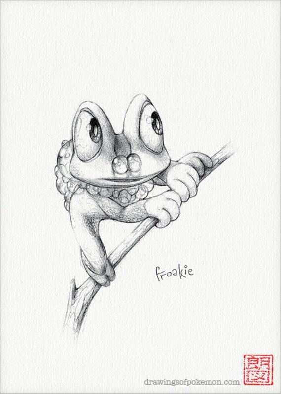 Froakie 5 X 7 Afdrukken Pokemon Tekening Kunst Etsy
