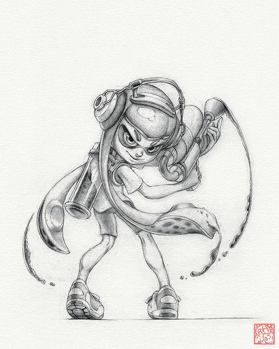 Inkling Girl Impression De 8 X 10 Po Dessin De Splatoon Encre Art œuvres Dart Jeux Nintendo Décor êtes Vous Un Enfant Ou êtes Vous Un