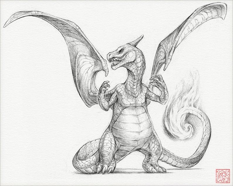 Charizard 8 X 10 Stampa Pokemon Disegno Arte Opera Etsy