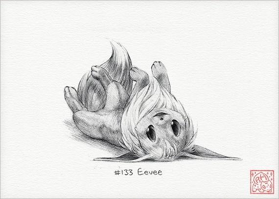 Eevee 5 X 7 Stampare Pokemon Disegno Arte Opera Etsy