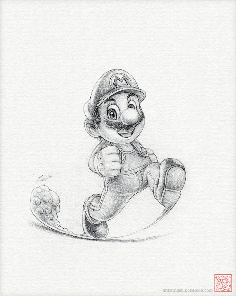 Super Mario 8 X 10 Stampa Mario Bros Disegno Arte Etsy