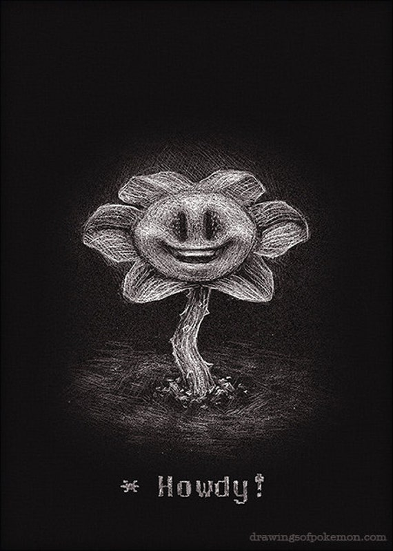 Flowey 5 X 7 Imprimer Undertale Fleur Dessin Art Etsy