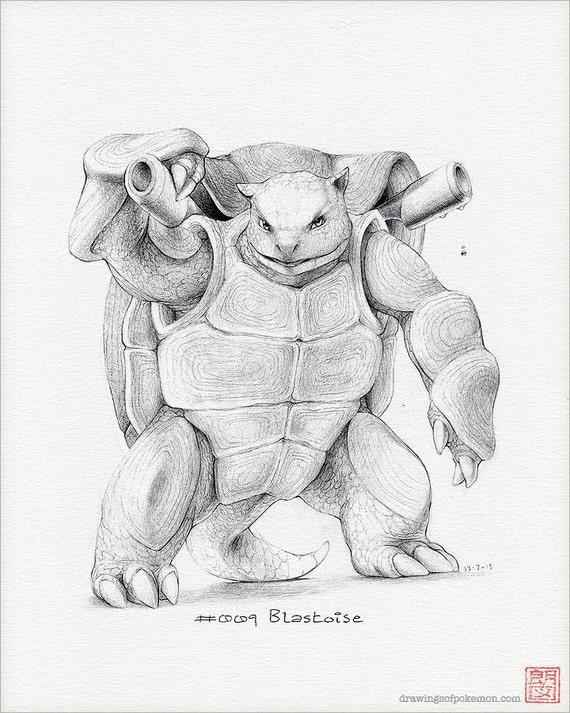 Blastoise 8 X 10 Afdrukken Pokemon Tekening Kunst Etsy