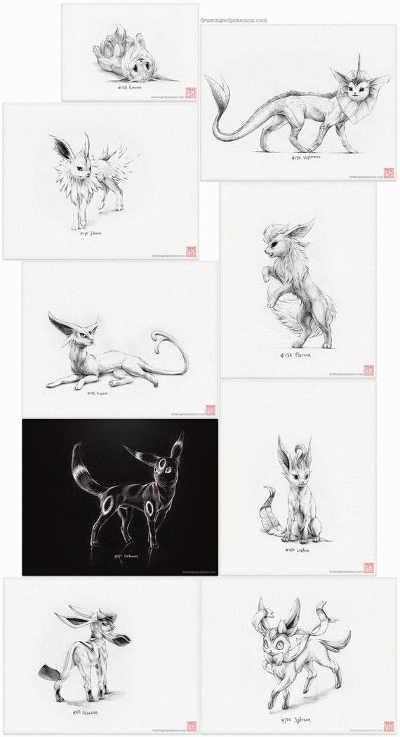 Pokémon Eeveelutions conjunto de nueve grabados dibujo | Etsy