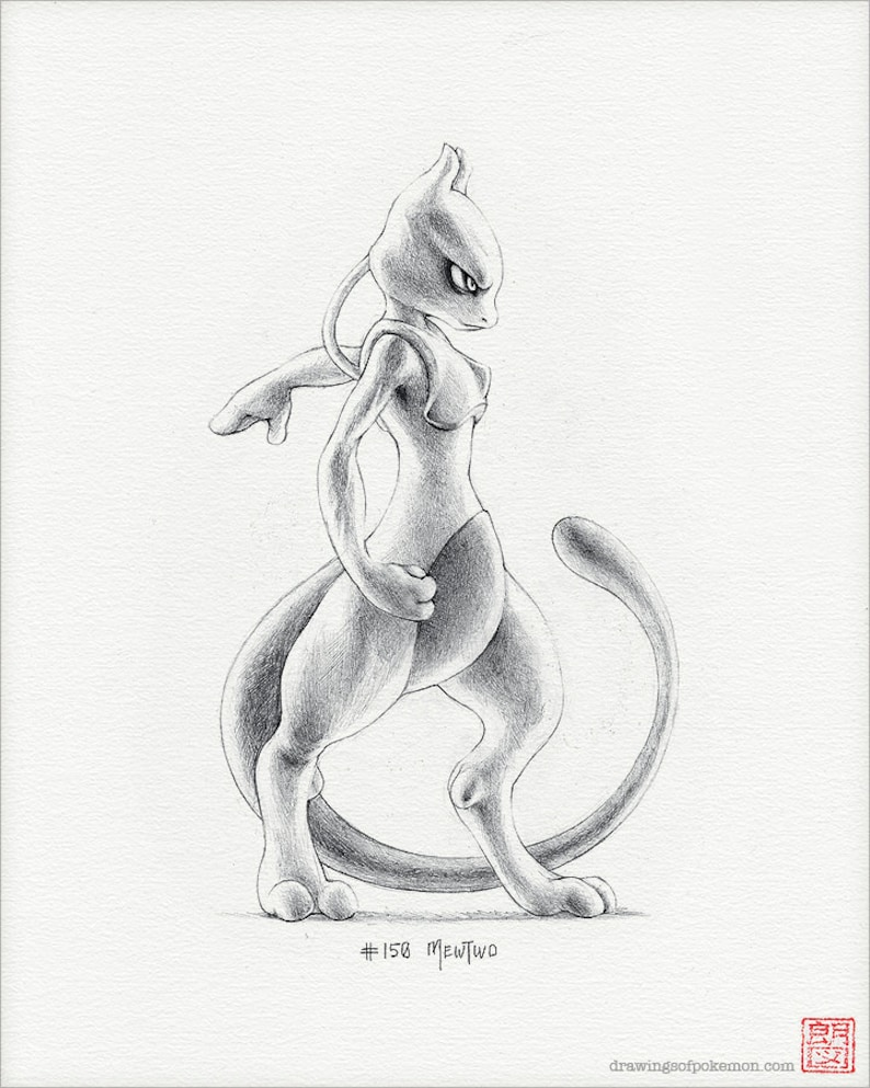Mewtwo 8 X 10 Stampa Pokemon Disegno Arte Opera Etsy