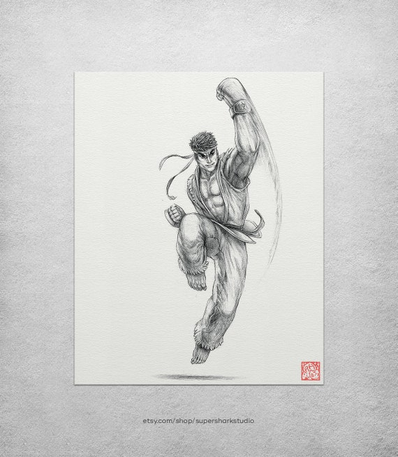 Ryu 8 X 10 Print Street Fighter Drawing Fighting Etsy