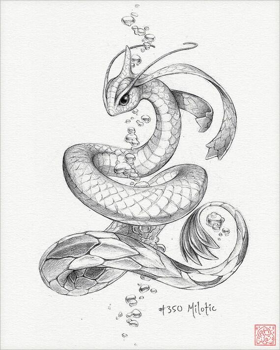 Milotic 8 x 10 stampa pokemon disegno arte opera - Mewtwo pagina da colorare ...