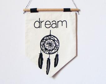 Dreamcatcher Wall Banner. Wall hanging dreamcatcher banner. Fabric wall banner . Screen printed  wall banner