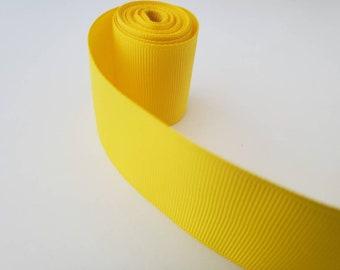 """YELLOW 1.5"""" GROSGRAIN ribbon solid  - 1,5,10 yards  -grosgrain ribbon for hair bow, party ribbon, solid ribbon"""