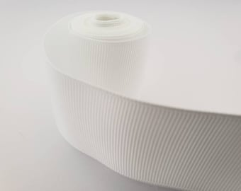 """WHITE 1.5"""" GROSGRAIN ribbon solid  - 1,5,10 yards -you pick -grosgrain ribbon for hair bow, party ribbon, solid ribbon"""