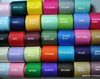 """1,5or10 yards-1 1/2"""" GROSGRAIN RIBBON solid  - You pick -grosgrain ribbon for hair bow, party ribbon, solid ribbon"""
