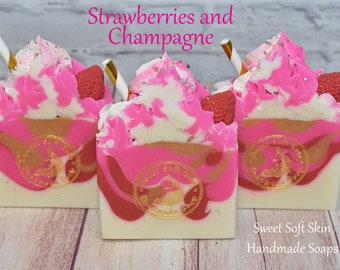Strawberries and Champagne Soap Bars