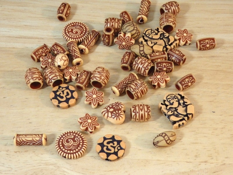 flower imitation terra cotta clay wood carved rustic Ganesha om Eastern Style Mixed Shape Tan Orange Acrylic Beads 50 g about 100 beads