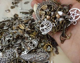 Random Charm Discount Mystery Lot Mix! (metal pendant grab bag silver bronze surprise grab bag pentagram mermaid tree key steampunk moon)