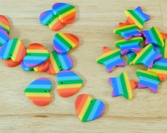 Rainbow Striped Star & Heart Pendant Charms, 20mm (pride mixed color resin plastic retro 80s style)