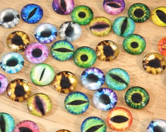 Eyeball Glass Cabs 12mm Round (cabochons eye ball eye pupil human fantasy halloween spooky creepy doll animal matched pair set mixed color)