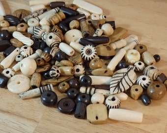 Water Buffalo Bone Beads, B Grade Mixed size shape color (carved brown cream off-white tube round oval shape bulk pipe 1 3 6 oz)