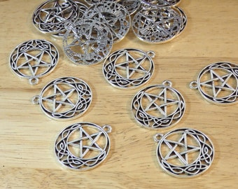 """Pentagram Celtic Knot Pendants / Charms, Silver Tone 1.25"""" 30mm (pagan, wiccan, witch, magic witchy goth gothic wicca necklace pentacle)"""