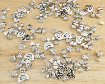 Mixed Silver Tone Heart Spacer Beads, 50 grams (beading basics small metallic bulk valentine love romantic random size style)