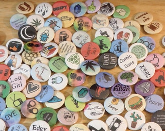 "10 Piece Button Blind Bag, U pick the Theme!  1"" handmade (pins pinback discount mystery box pagan books science gift stocking stuffer set)"