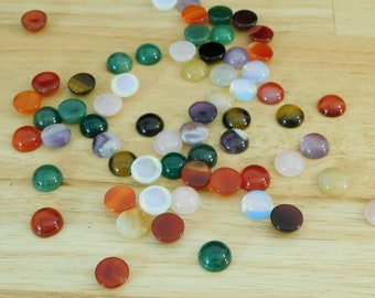 12mm Round Mixed Gemstone Cabs Cabochons, Uncalibrated (dome, undrilled, tiger eye rose quartz agate opalite aventurine natural & man-made)