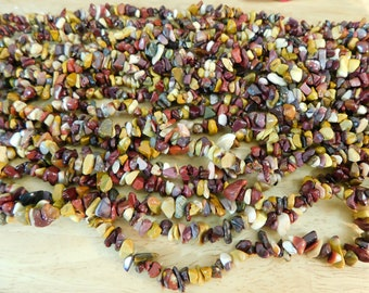 "1 strand Mookaite Jasper Gemstone Chip Bead Strand, 31"", small chip 5mm to 8mm (autumn fall tone yellow red purple cream Australian natural)"