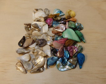 Mixed Free-form Iridescent Mother of Pearl Shell Pendants/Beads/Components. (boho, hippie, beach, natural, ocean, sea mermaid rainbow color)