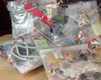 Mixed Lot Random Grab Bag Craft & Jewelry Supplies (findings Cabs Pendants Destash beading bead stone vegan charms mystery surprise glass)